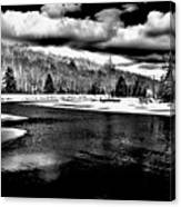 Snow At The River - Bw Canvas Print