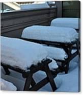 Snow Benches Canvas Print
