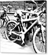 Snow Bicycles Canvas Print