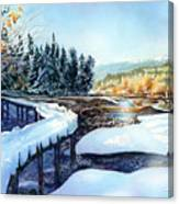 Snow Blanket Over Shoreline Trials Canvas Print