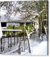 Snow Covered Barn Canvas Print