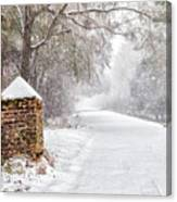 Snow Covered Brick Pillar Canvas Print