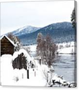 Snow Covered Cabin Canvas Print