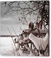 Snow Covered Farming Equipment Canvas Print