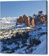 Snow-covered Fins And La Sal Mountains Canvas Print