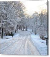 Snow Covered Lane In Paint Canvas Print