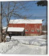 Snow Covered Masachussetts Barn Canvas Print