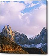 Snow Covered Mountain Range, The Canvas Print