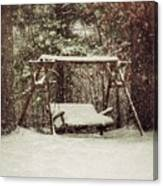 Snow Covered Swing Canvas Print