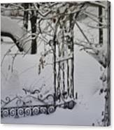 Snow Covered Wisteria Arch Canvas Print