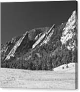 Snow Dusted Flatirons Boulder Co Panorama Bw Canvas Print