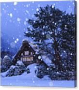 Snow, Historic Villages Of Shirakawa, Japan Canvas Print