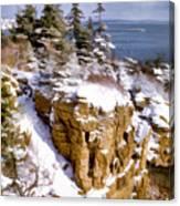 Snow In The Park Acadia Maine Canvas Print