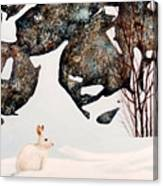 Snow Ledges Rabbit Canvas Print