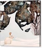Snow Ledges Rabbit Canvas Print