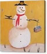 Snow Man And Bird House Canvas Print