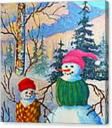 Snow Mom And Son Canvas Print
