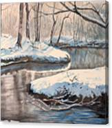 Snow On Riverbank Canvas Print
