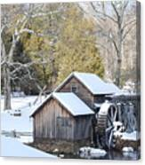 Snow On The Mill Canvas Print