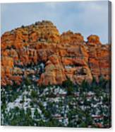 Snow On The Red Rocks Canvas Print