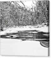 Snow On The Stream Canvas Print