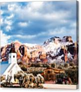 Snow On The Superstitions Canvas Print