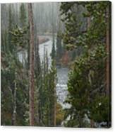 Snow On The Yellowstone River Canvas Print
