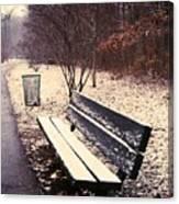 Snow Park Bench Canvas Print