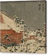 Snow Scene At Sens Ji Temple At Kinry Zan In The Eastern Capital Canvas Print