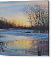 Snow Scene At Sunset Canvas Print