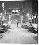 Snow Storm In Chinatown Boston Chinatown Gate Black And White Canvas Print