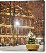 Snow Storm In Faneuil Hall Quincy Market Boston Ma Canvas Print