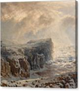 Snow Storm On A Northern Coast Canvas Print
