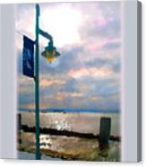 Snow Waterfront Park Walk Canvas Print