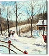 Snowball Battle Canvas Print