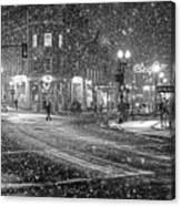 Snowfall In Harvard Square Cambridge Ma 2 Black And White Canvas Print