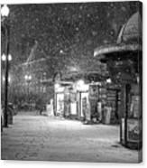 Snowfall In Harvard Square Cambridge Ma Kiosk Black And White Canvas Print