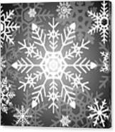 Snowflakes Black And White Canvas Print