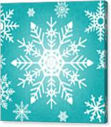 Snowflakes Green And White Canvas Print