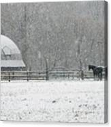 Snowing At The Round Barn Canvas Print