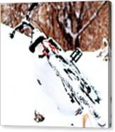 Snowing On The Bicycle Canvas Print