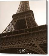 Snowing On The Eiffel Tower Canvas Print