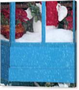 Snowman And Poinsettias - Frosty Christmas Canvas Print