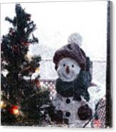 Snowman And Tree Pa Canvas Print