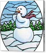 Snowman Flutist Canvas Print