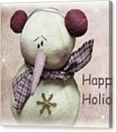 Snowman Greeting Card Canvas Print
