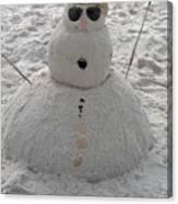 Snowman On The Beach Canvas Print