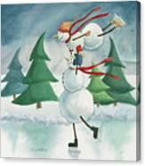 Snowmen Skating Canvas Print