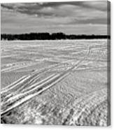 Snowmobile Tracks On China Lake Canvas Print