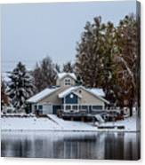 Snowy Boat House Canvas Print
